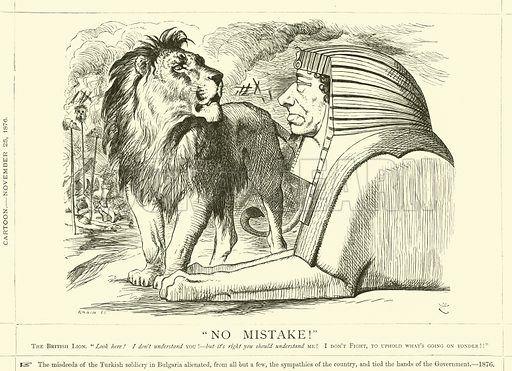 """No Mistake!"" Cartoon, 25 November 1876. Illustration for Benjamin Disraeli, Earl of Beaconsfield from the Collection of Mr Punch (Punch, 1878)."