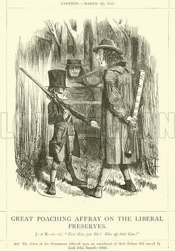 Great Poaching Affray on the Liberal Preserves. Cartoon, 26 March 1859. Illustration for Benjamin Disraeli, Earl of Beaconsfield from the Collection of Mr Punch (Punch, 1878).
