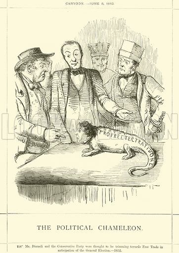 The Political Chameleon. Cartoon, 5 June 1852. Illustration for Benjamin Disraeli, Earl of Beaconsfield from the Collection of Mr Punch (Punch, 1878).