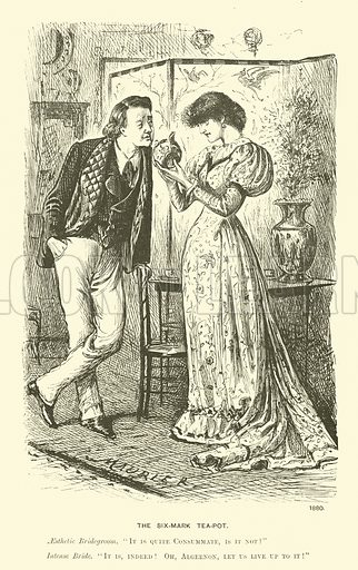 The six-mark tea-pot. Illustration from Society Pictures by George du Maurier selected from Punch (Bradbury, Agnew & Co, London, 1891).