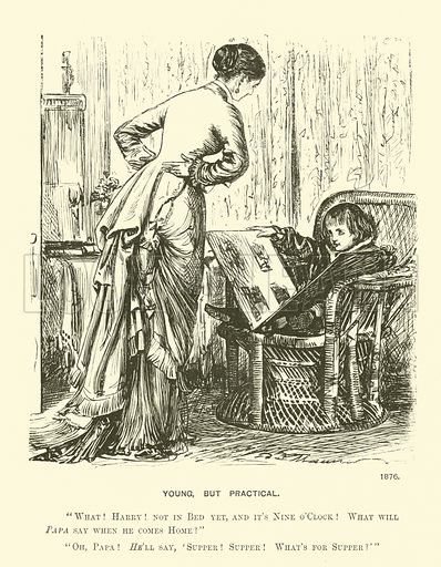 Young, but practical. Illustration from Society Pictures by George du Maurier selected from Punch (Bradbury, Agnew & Co, London, 1891).