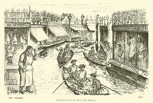 The Thames (development of the house-boat system). Illustration from Society Pictures by George du Maurier selected from Punch (Bradbury, Agnew & Co, London, 1891).