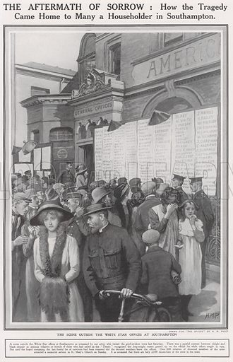 Sinking of The Titanic, The scene outside the White Star offices at Southampton