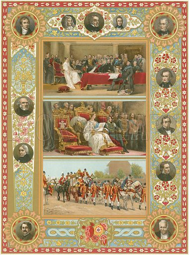 Queen Victoria's First Council, Opening her first Parliament, Proceeding to the last Parliament opened by her in person. Illustration for Illustrated London News Diamond Jubilee number, 1897.