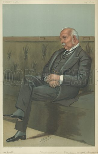 The Right Hon Sir Henry Campbell-Bannerman, The opposition, 10 August 1899, Vanity Fair cartoon.