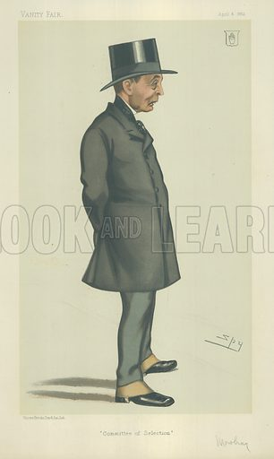 The Right Hon Sir John Robert Mowbray, Committee of Selection, 8 April 1882, Vanity Fair cartoon.
