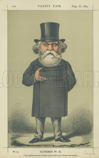 The Right Hon A H Layard, He combines the love of truths and art with equal devotion and success, 28 August 1869, Vanity Fair cartoon.