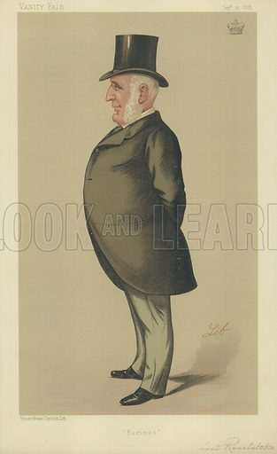 Lord Revelstoke, Barings, 15 September 1888, Vanity Fair cartoon.