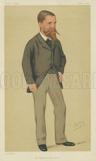 Lieutenant V L Cameron, He Walked Across Africa, 15 July 1876, Vanity Fair cartoon.