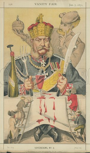 King William I (Wilhelm I), the King of Prussia, Les mangeoit pour soi refraischir devant souper, 7 January 1871, Vanity Fair cartoon.