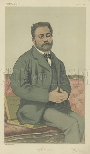 Emile Zola, French realism, 24 January 1880, Vanity Fair cartoon.