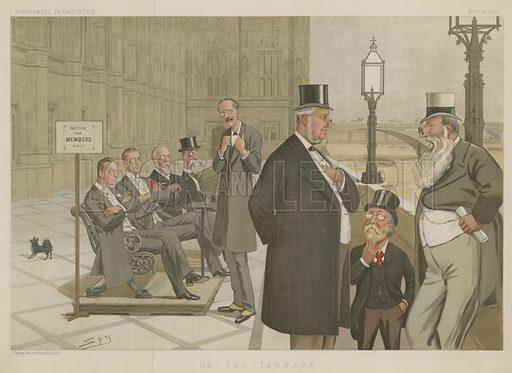 On the Terrace: Joseph Chamberlain, Austen Chamberlain, John Eldon Gorst, Sir Richard Temple, Arthur Balfour, William Vernon Harcourt, Justin McCarthy, Anthony John Mundella, 30 November 1893, Vanity Fair cartoon.