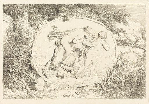 Nymph Astride a Satyr (Jeune fille a califourchon sur un satyre). Date: 1763. Accession number: 1942.9.2303.