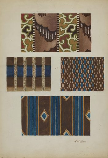 Printed Cottons (from Quilt). Date: c 1937. Accession number: 1943.8.958.