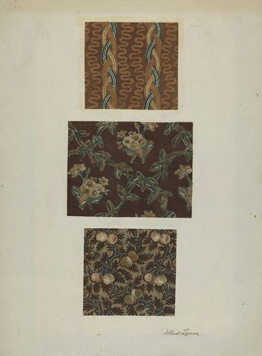 Printed Cottons from Quilt. Date: c 1939. Accession number: 1943.8.972.