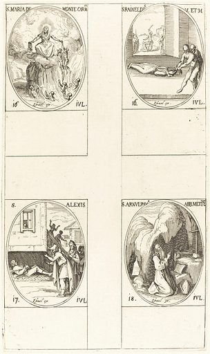 St Mary of Mont Carmel; St Raineldis; St Alexis; St Arnold of Metz. Accession number: 1969.15.701.