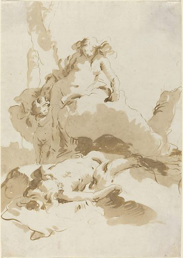 Venus and Cupid Discovering the Body of Adonis. Date: c 1740. Accession number: 2006.11.64.