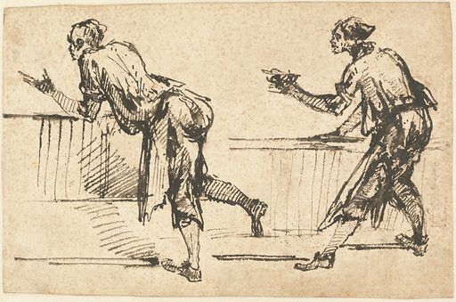 Two Workmen at Tables (recto). Date: early 1770s. Accession number: 2014.2.1.a.