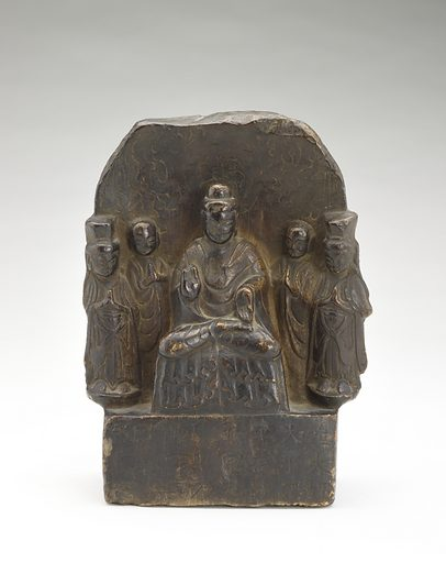 Seated Buddha (Shakyamuni) with standing monks and bodhisattvas (obverse) and donors (reverse). Date: 500s. Record ID: fsg_F1909.295.