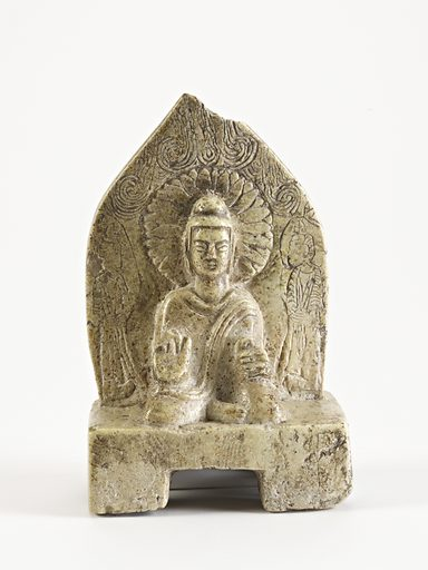 Seated Buddha with figures. Date: 500s. Record ID: fsg_F1910.12.