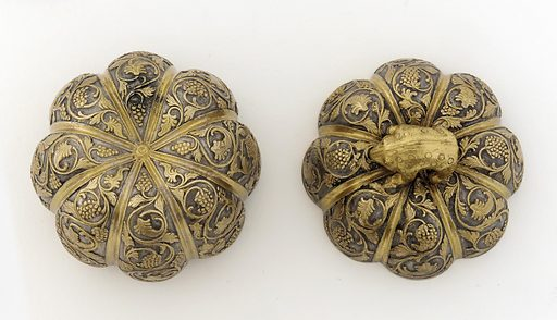 Lidded box in the form of a melon with grapevines and knob in the shape of a rodent. Date: 600s. Record ID: fsg_F1930.39a-b.