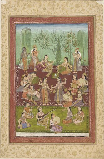 A group of women in a garden, entertaining themselves with music and dancing. Date: 1720s. Record ID: fsg_F1907.263.