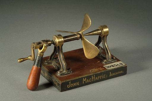 """This is the patent model of John MacHaffie's screw propeller, which he called """"the citropeller adopted to aquatic propulsion."""". Date: 1890s. Record ID: nmah_843793."""