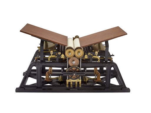 Patent Model for a Double Cylinder Flatbed Printing Press. Date: 1840s. Record ID: nmah_790065.