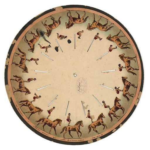 The zoopraxiscope – a horse back somersault. Images on a disc which when spun gives the illusion of a man doing a somersault on horseback. Date c1893.