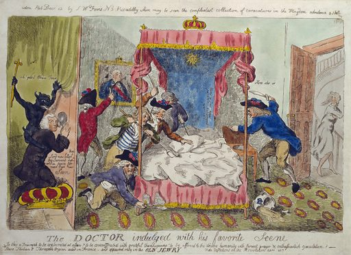 The doctor indulged with his favorite scene. Cartoon shows cleric Dr Richard Price, kneeling on a crown with a demon on his back, peering through a peep-hole into the royal bedroom at Versailles, watching ruffians destroy the Queen's bed and bedroom in search of her; Queen Marie Antoinette is seen fleeing down a staircase. Date 1790? Dec. 12.