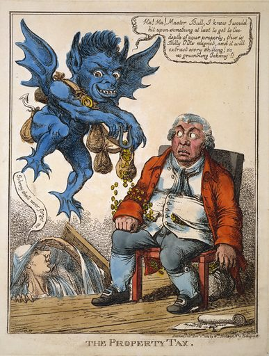 """The property tax. Cartoon shows a prosperous John Bull seated in a chair as a blue demon hovers above him using a magnet to withdraw coins from Bull's waistcoat pocket. The ghost of William Pitt rises from the floorboards saying """"Johnny shall never forget me."""". Date 1814 Dec. 1."""