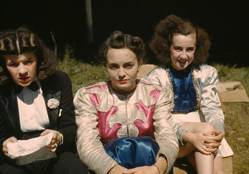 """""""Backstage"""" at the """"girlie"""" show at the Vermont state fair, Rutland. Date 1941 Sept."""
