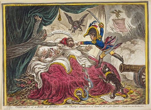 """Comfort of a Bed of Roses. Charles Fox, in bed with his wife, having a nightmare. To the right, Napoleon jumps to the bed from a cannon with the words """"Pour subjugeur le Monde"""" inscribed on the muzzle; behind him are seen pikes and a banner with the words """"Horrors of Invasion."""" William Pitt, as a shade, floats near the bed, admonishing Fox to awake. An eagle with the collar labeled """"Prussia"""" looms over Fox's head. From under the bed grow thorny rose branches and Death crawls out from under the covers. A bulldog with its collar inscribed """"John Bull"""" lunges at Napoleon. Date 1806 April 21st."""
