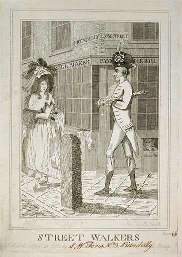 Street walkers. Cartoon shows a well dressed man wearing large hat, possibly George Hanger, walking at the corner of …