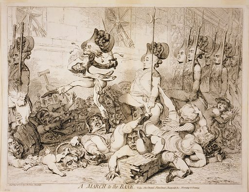 A march to the bank Vide, the Strand, Fleet Street, Cheapside &c morning & evening. Cartoon shows heavily armed British troops arrogantly marching double file through the streets of London trampling and stomping pedestrians and street merchants. Date 1787 Augt. 22d.