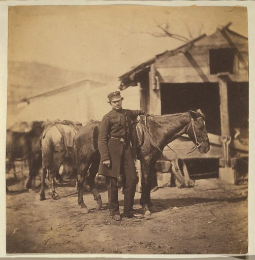 Captain Bathurst, Grenadier Guards. Captain Bathurst, full-length portrait, dressed in uniform, standing next to a horse with other horses and buildings in the background. Date 1855.