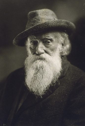 John Burroughs, head-and-shoulders portrait, wearing hat and coat, seated, facing front. Date c1920 Nov. 23.