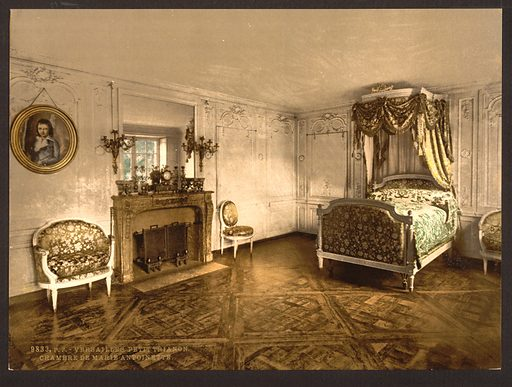 Petit Trianon, chamber of Marie Antoinette, Versailles, France. Date between ca 1890 and ca 1900.