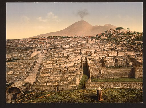 General view and Vesuvius, Pompeii, Italy