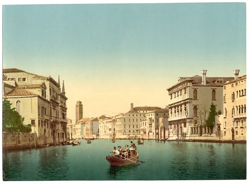 Canal and gondolas, Venice, Italy. Date between ca. 1890 and ca. 1900.