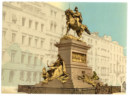 Equestrian monument, Victor Emmanuel II, Venice, Italy. Date between ca. 1890 and ca. 1900.
