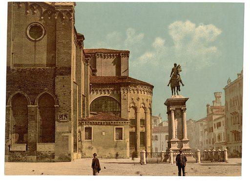 Santi Giovanni e Páolo church and statue of Bartolomeo Colleoni, Venice, Italy. Date between ca. 1890 and ca. 1900.