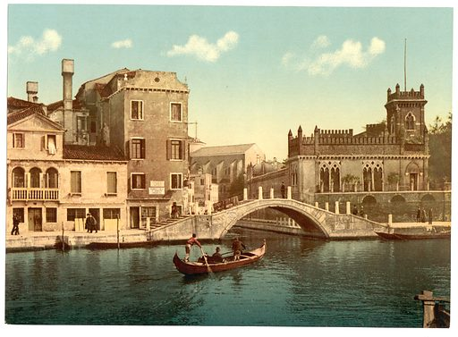 Bridge and canal, Venice, Italy. Date between ca. 1890 and ca. 1900.