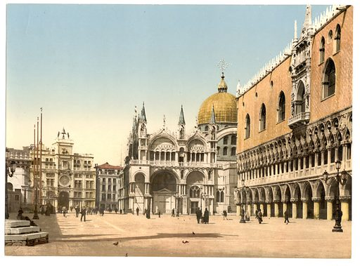 Clock tower, St. Mark's, and Doges' Palace, Piazzetta di San Marco, Venice, Italy. Date between ca. 1890 and ca. 1900.