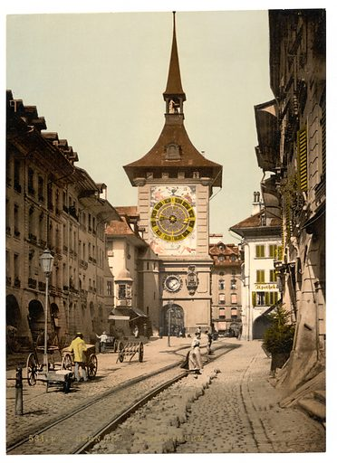 The clock tower, Berne, Town, Switzerland. Date between ca. 1890 and ca. 1900.