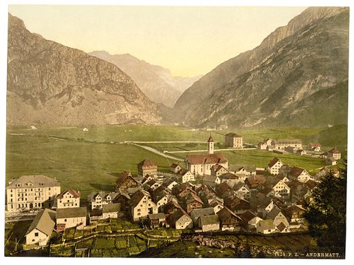 General view, Andermatt, Switzerland. Date between ca. 1890 and ca. 1900.