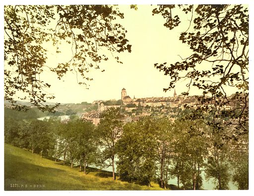 General view of the town, with Kirchenfeld Bridge, as seen from Muristalden, Berne, Switzerland. Date between ca. 1890 and ca. 1900.