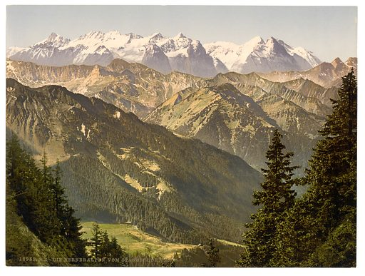 Bernese Alps, from Stanserhorn, Bernese Oberland, Switzerland. Date between ca. 1890 and ca. 1900.