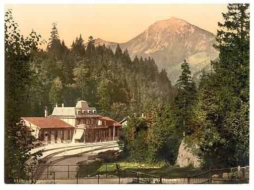 The railway station, Brunig, Bernese Oberland, Switzerland. Date between ca. 1890 and ca. 1900.