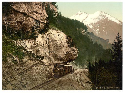 The railway between Passhohe and Meiringen, Brunig, Bernese Oberland, Switzerland. Date between ca. 1890 and ca. 1900.
